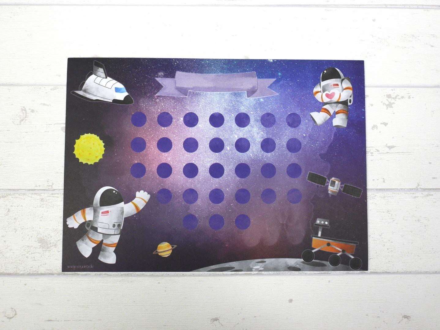 Belohnungstafel Astronaut Belohnungskarte Kinder inkl Sticker