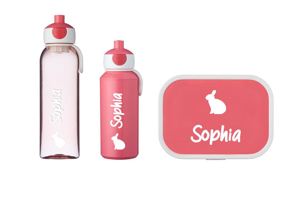 Brotdose Hase mit Name Trinkflasche personalisiert