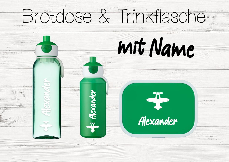 Brotdose Flugzeug mit Name Trinkflasche personalisiert