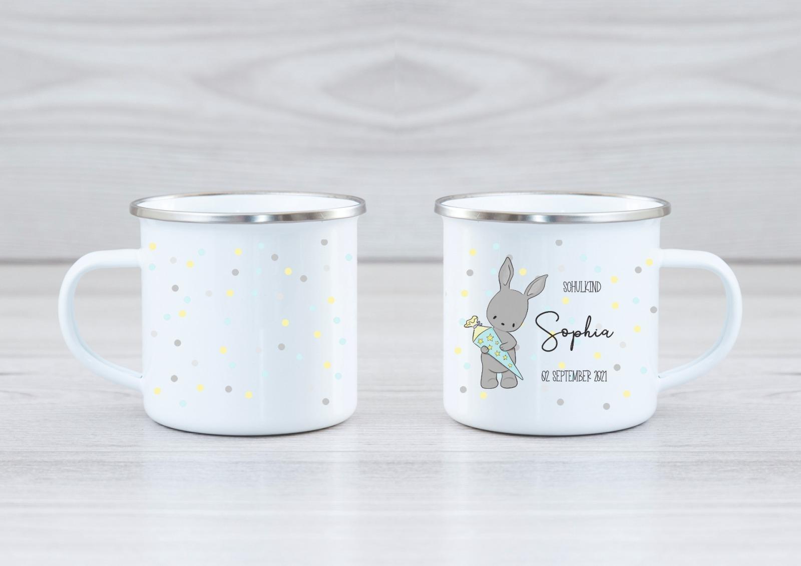 Emaille Tasse Hase personalisiert mit Namen