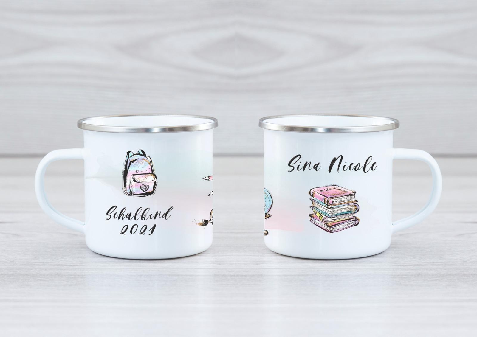 Emaille Tasse Schulkind personalisiert mit Namen