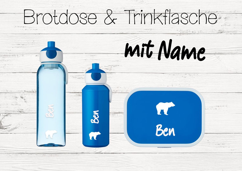 Brotdose Bär mit Name Trinkflasche personalisiert
