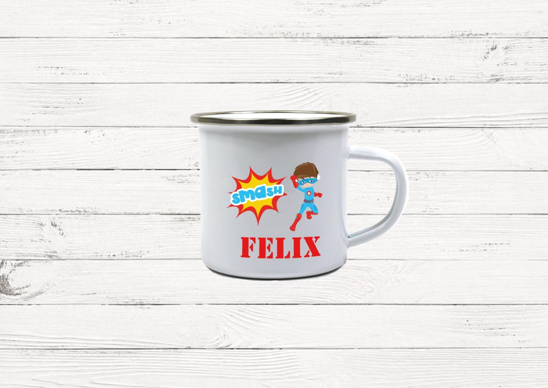 Emaille Tasse Superhero personalisiert mit Namen