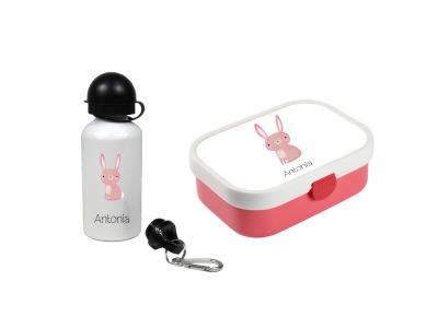 Brotdose mit Name Trinkflasche personalisiert Hase
