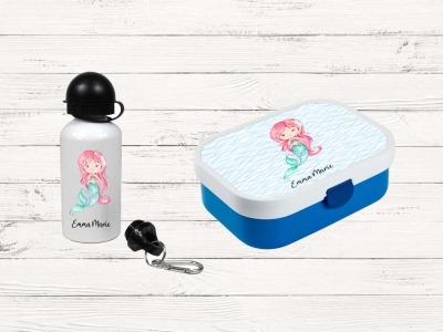Brotdose mit Name Trinkflasche personalisiert Meerjungfrau