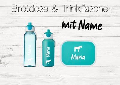 Brotdose Pferd mit Name Trinkflasche personalisiert