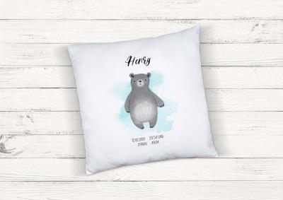 Kissen zur Geburt Bär personalisiert mit