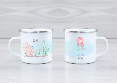 Emaille Tasse Meerjungfrau personalisiert mit Namen