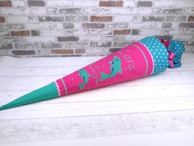 Schultüte Delfin pink Stoff Zuckertüte 70cm