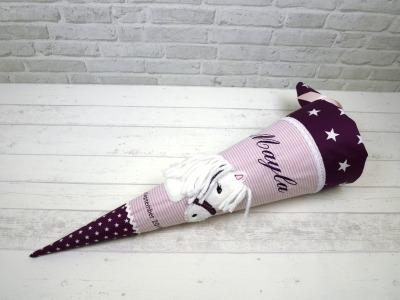 Schultüte Pferd Stoff rosa lila Zuckertüte