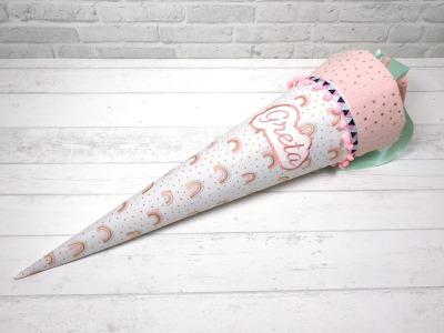 Schultüte Regenbogen rosa aus Stoff Zuckertüte