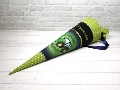Schultüte Traktor grün Stoffschultüte Zuckertüte 70cm