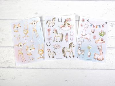 Sticker Set Tiere Waldtiere Pferd Lama