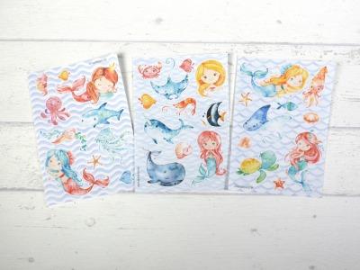 Sticker Set Tiere Meerjungfrau Aufkleber Mermaid