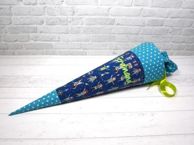 Schultüte Pirat blau aus Stoff Zuckertüte