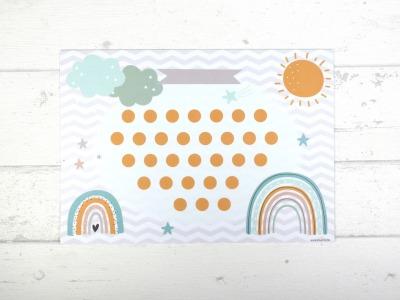 Belohnungstafel Regenbogen Belohnungskarte Kinder inkl Sticker
