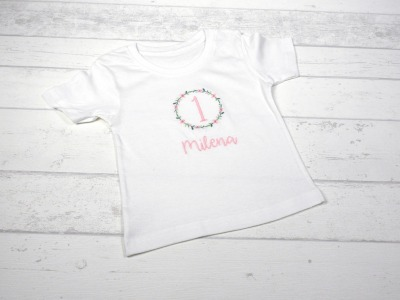 Shirt Geburtstag Blumenkranz personalisierbar mit Name