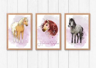 Poster Set Pferdemädchen mit Namen Pferdeposter