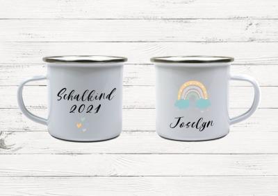 Emaille Tasse Regenbogen personalisiert mit Namen