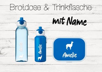 Brotdose Alpaca mit Name Trinkflasche personalisiert