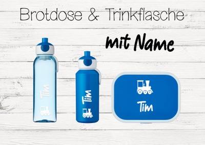 Brotdose Zug mit Name Trinkflasche personalisiert