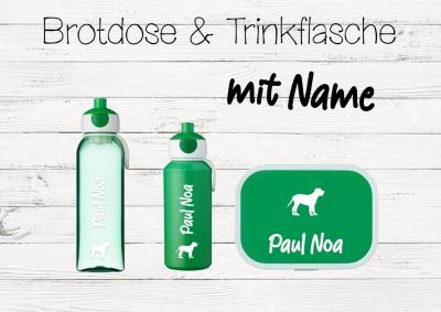 Brotdose Hund mit Name Trinkflasche personalisiert