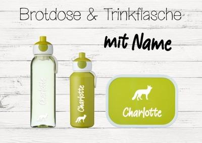 Brotdose Fuchs mit Name Trinkflasche personalisiert