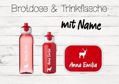Brotdose Hirsch mit Name Trinkflasche personalisiert