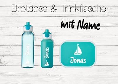 Brotdose Segelboot mit Name Trinkflasche personalisiert