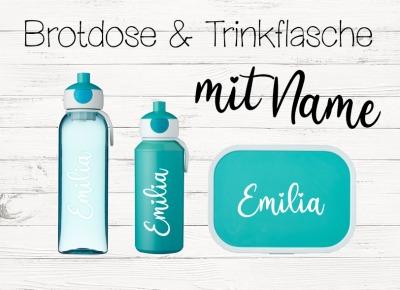 Brotdose mit Name Trinkflasche personalisiert Farbwahl