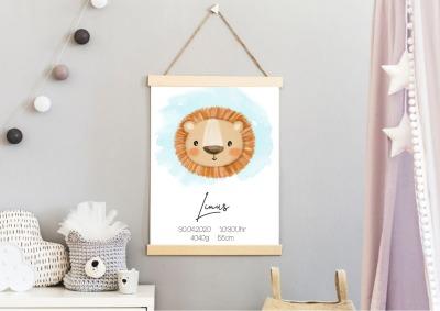 Geburtsposter Löwe Geburtsdaten personalisiert Namensposter Kinderzimmer
