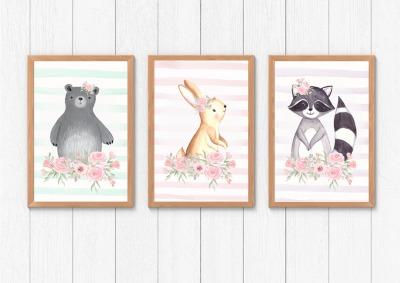 Poster Tiere Kinderposter Watercolor Kinderzimmer Print