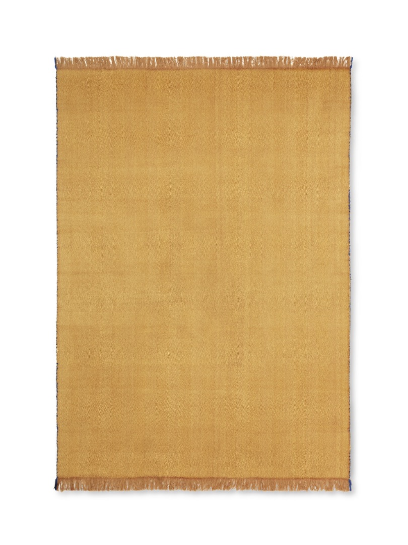Decke Herringbone Lambswool Blend Blanket Mustard