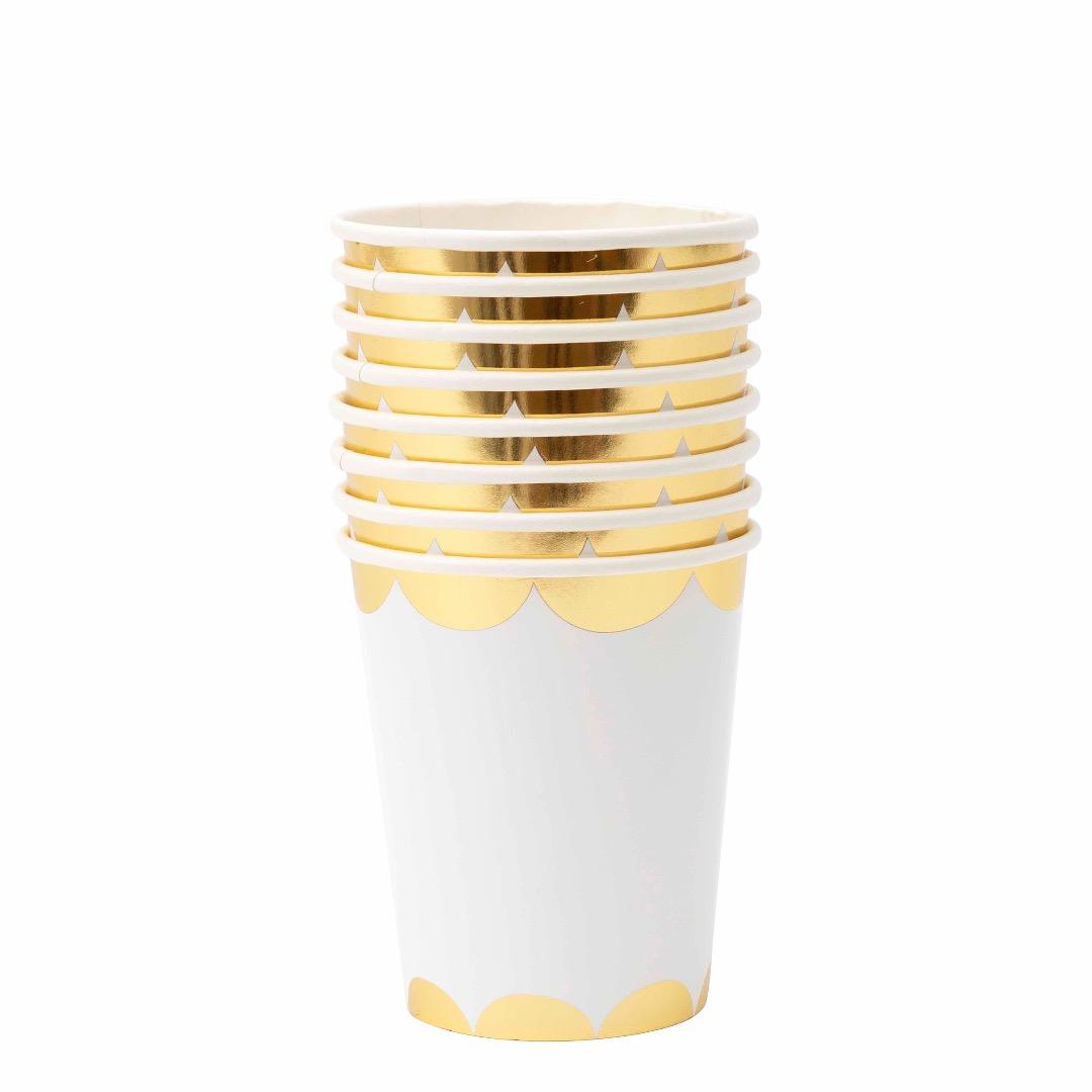 TOOT SWEET GOLD - WEISS PAPPBECHER von Meri Meri - 1