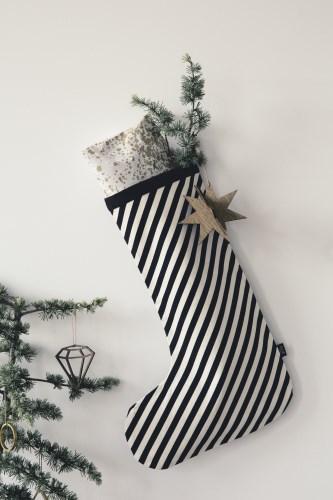 CHRISTMAS STOCKING BLACK STRIPES - 1