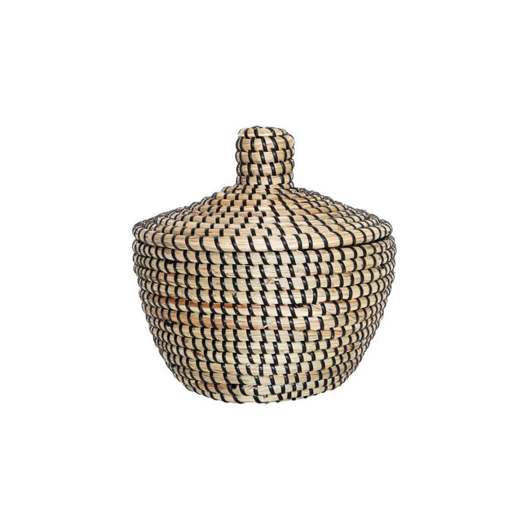 SEAGRASS BASKET WITH LID KORB MIT - 1