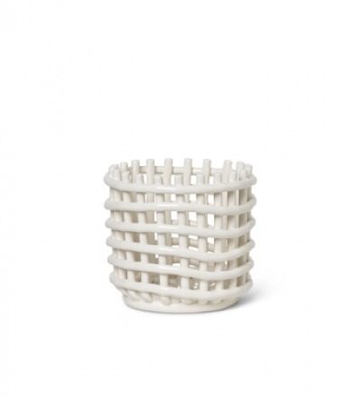 Ceramic Basket Off White Small von