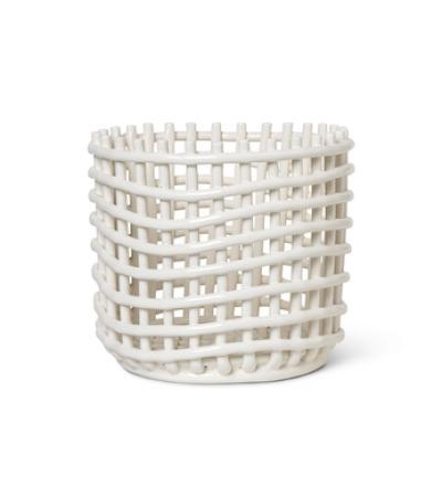 Ceramic Basket Large Off White von