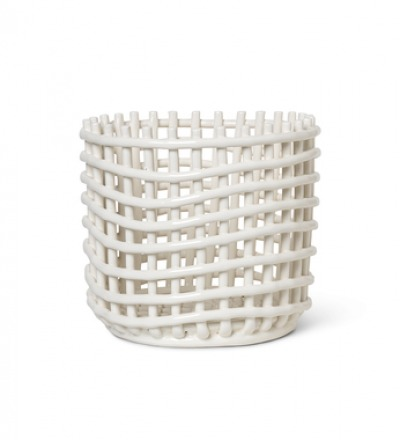 Ceramic Basket Large Off White von