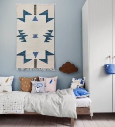 KELIM RUG BLUE TRIANGLES