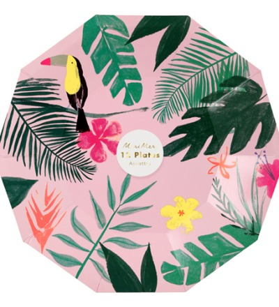 PINK TROPICAL PLATES SMALL - meri meri