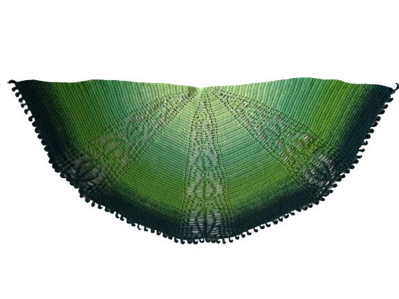 halbrundes Tuch green leaves