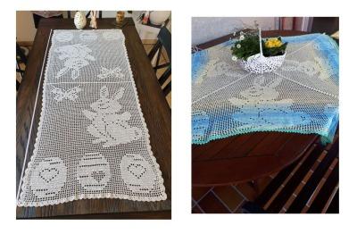 Filethäkel-Set Bunny Tischläufer und quadratische Tischdecke