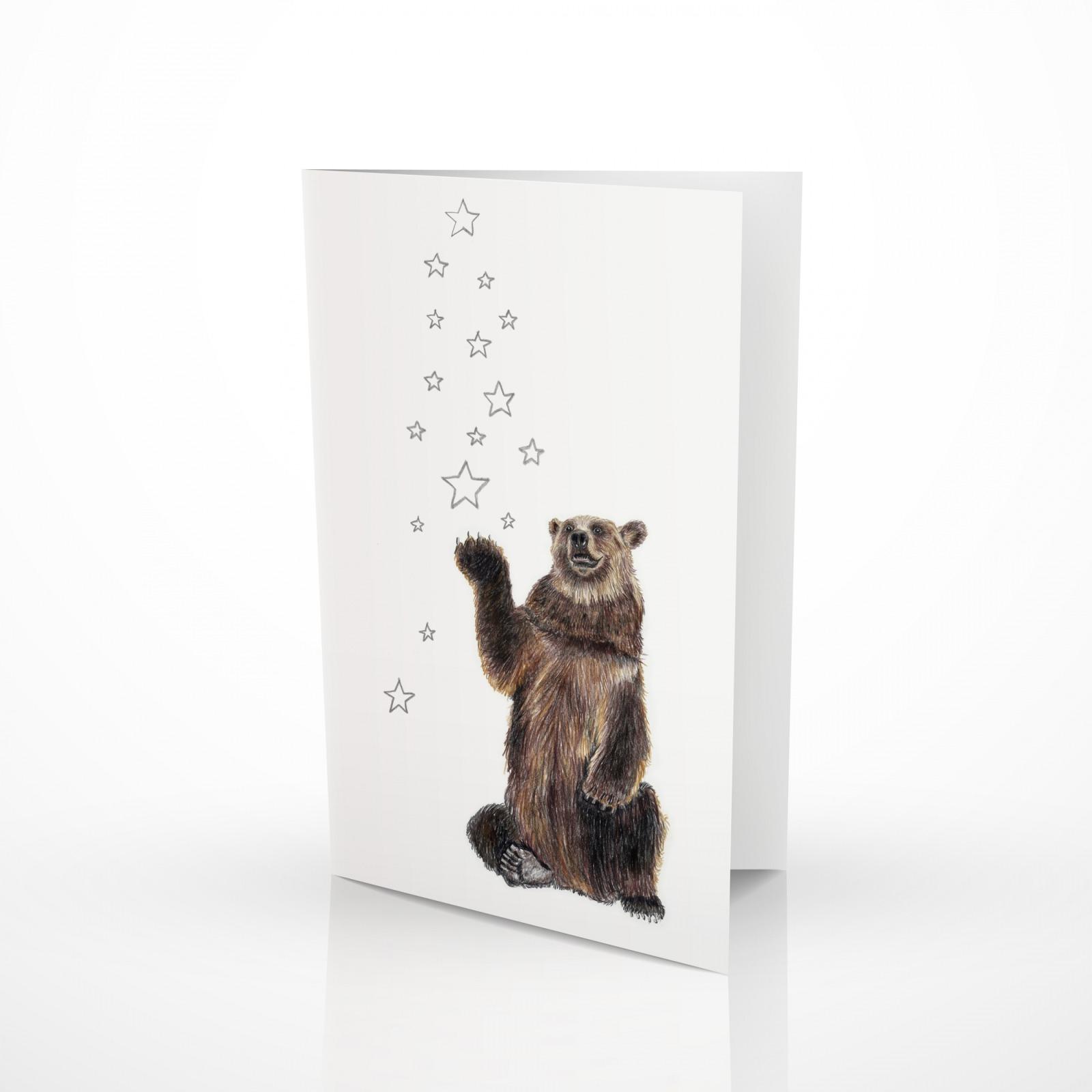 Weihnachtskarte Bär mit Sternen Grußkarte 2
