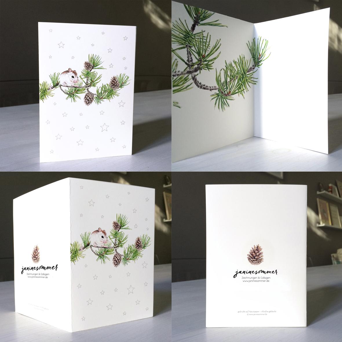 Weihnachtskarte Maus auf Kiefernzweig Grußkarte 3