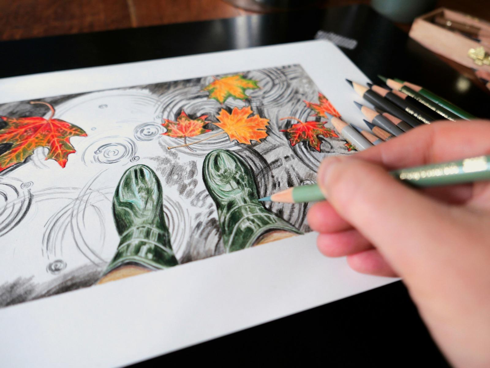 Pfütze Kunstdruck Zeichnung 3