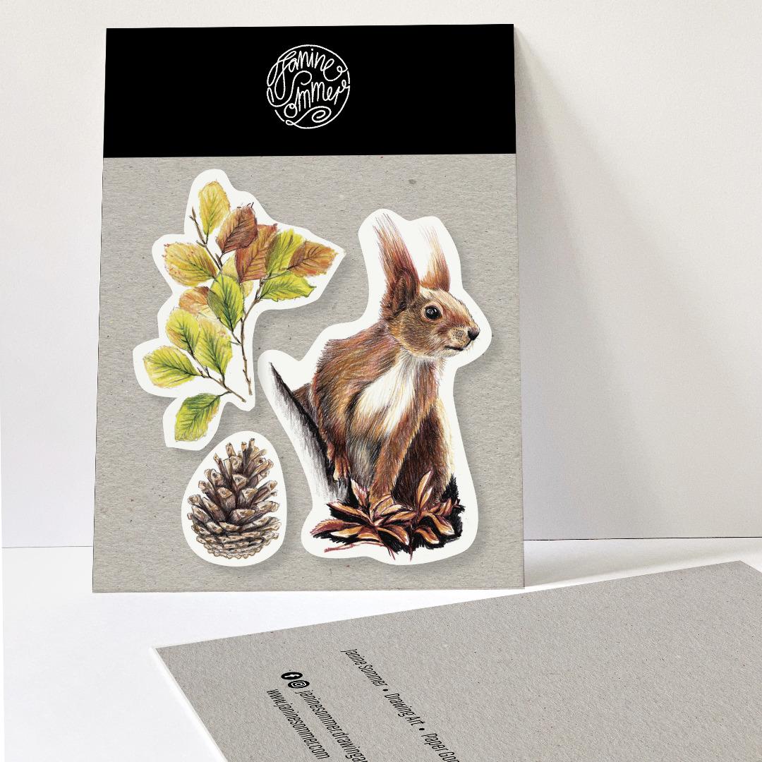 3 Sticker Eichhörnchen Herbstblätter und Tannenzapfen