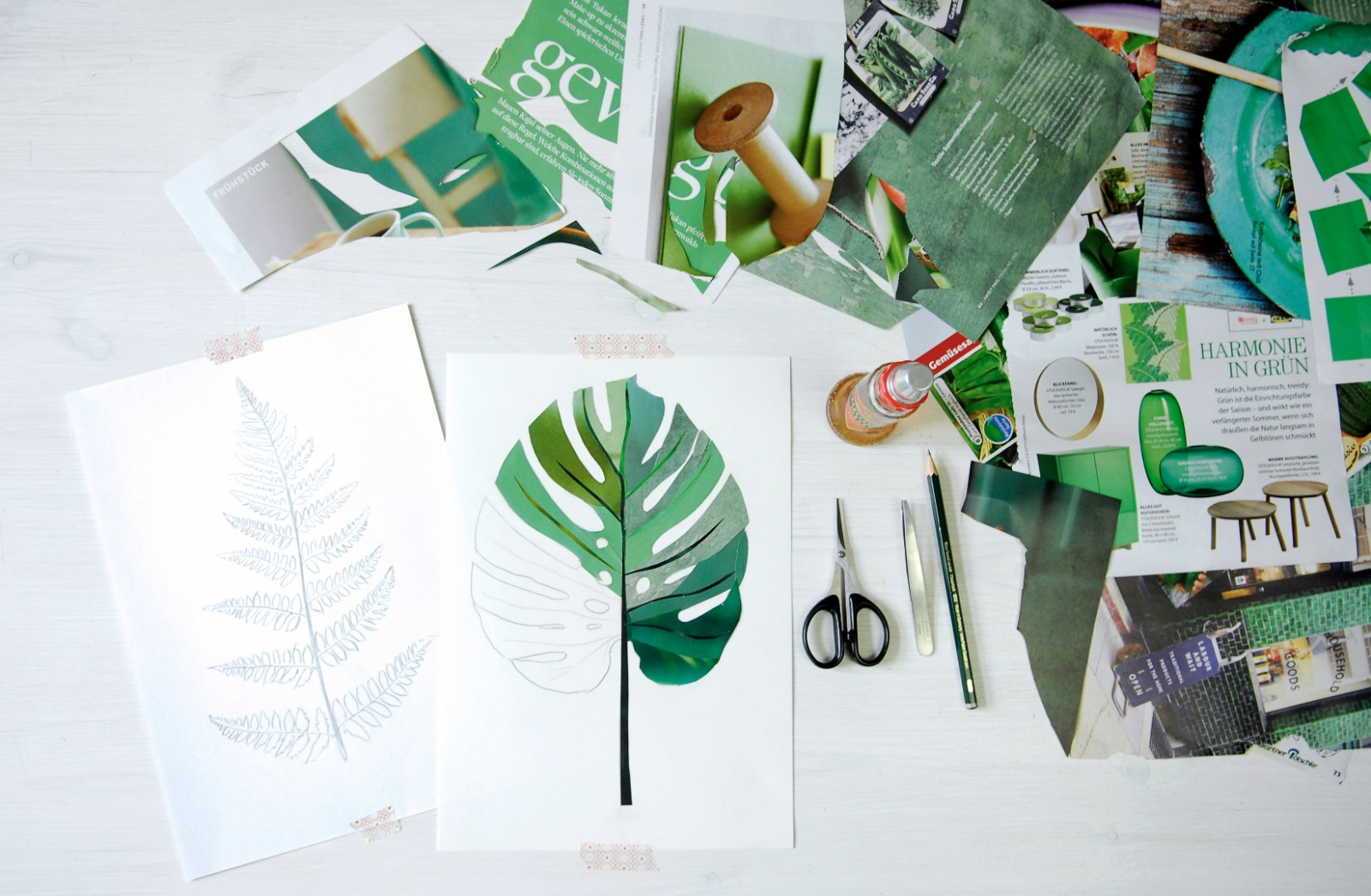 Monstera Collage Poster Kunstdruck DIN A3