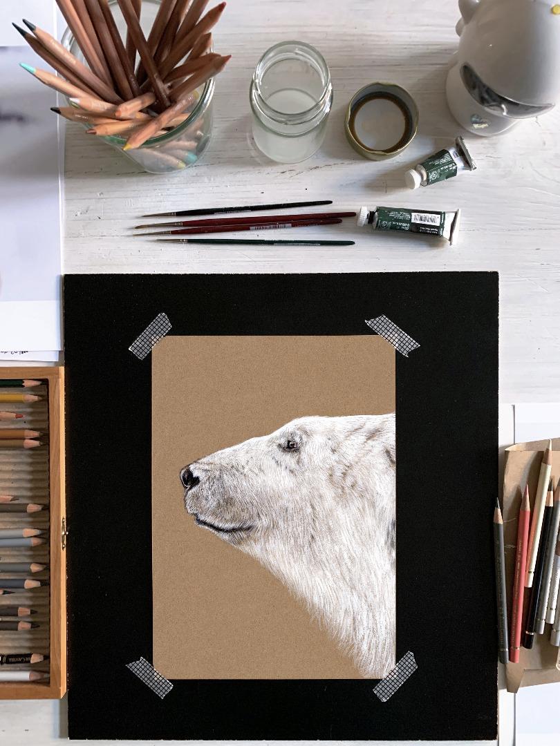 Polarbär Eisbär Poster Kunstdruck Zeichnung 3