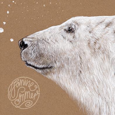 Polarbär Eisbär Poster Kunstdruck Zeichnung 4
